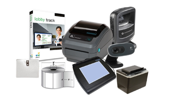 IN A BOX, VISITOR MANAGEMENT SYSTEM, HIGH VOLUME, ZEBRA GX420D PRINTER, ZEBRA DS9208 BARCODE SCANNER, LOGITECH WEBCAM, IS SCAN OCR, TOPAZ SIGNATURE PAD,  BADGE HOLDERS, JOLLY LOBBY TRACK PREMIER SOFT