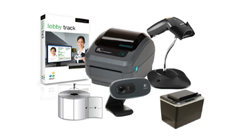 IN A BOX, VISITOR MANAGEMENT SYSTEM, MID VOLUME, ZEBRA GK420D PRINTER, ZEBRA LS1203 BARCODE SCANNER, LOGITECH WEBCAM, ID SCAN OCR, JOLLY LOBBY TRACK PREMIER SOFTWARE