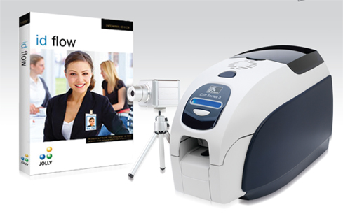 IN A BOX, ID BADGE CREATOR, ZEBRACARD ZXP SERIES 3 SINGLE SIDE CARD PRINTER, JOLLY ID FLOW SOFTWARE, BADGEPLUS HD WEB CAM