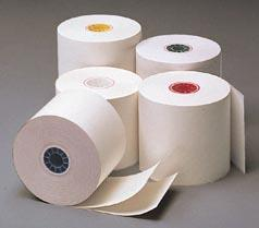 2 1/4 x 95' 2-Ply Carbonless Paper Rolls (White/Canary), 50 Rolls/Case